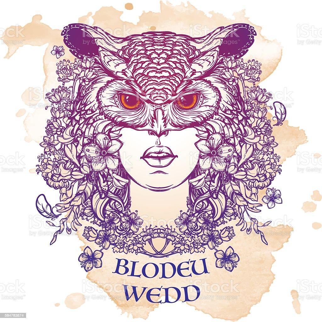 Blodeuwedd sketch isolated on a grunge background vector art illustration