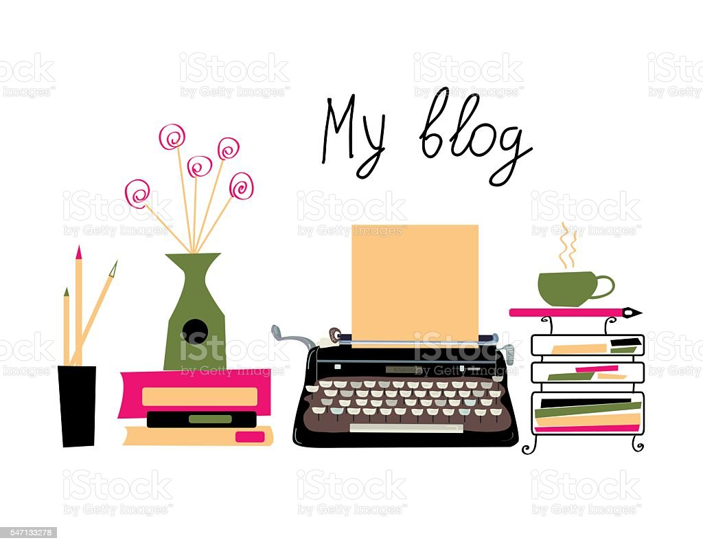 Blog banner with typing machine and books vector art illustration