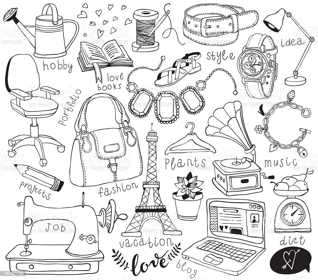 blog doodles set vector art illustration