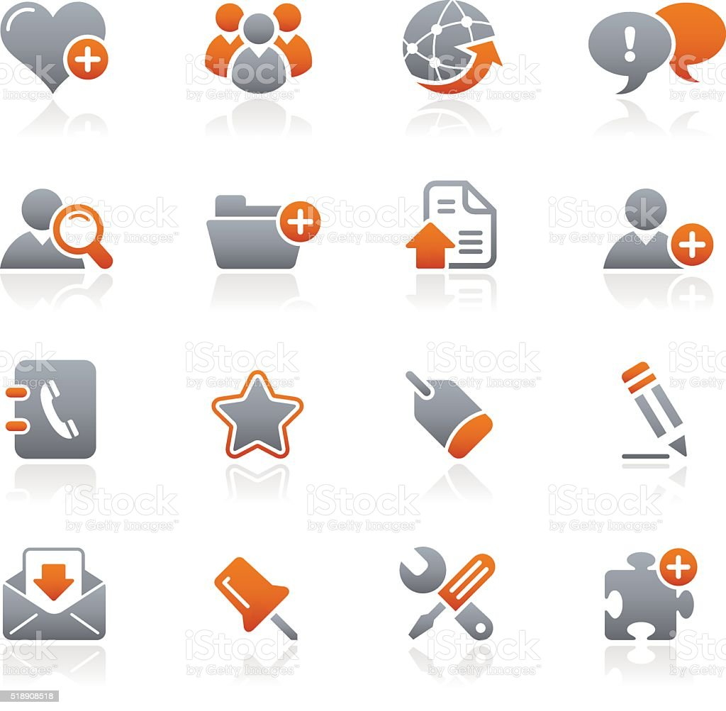 Blog & Internet icons - Graphite Series vector art illustration