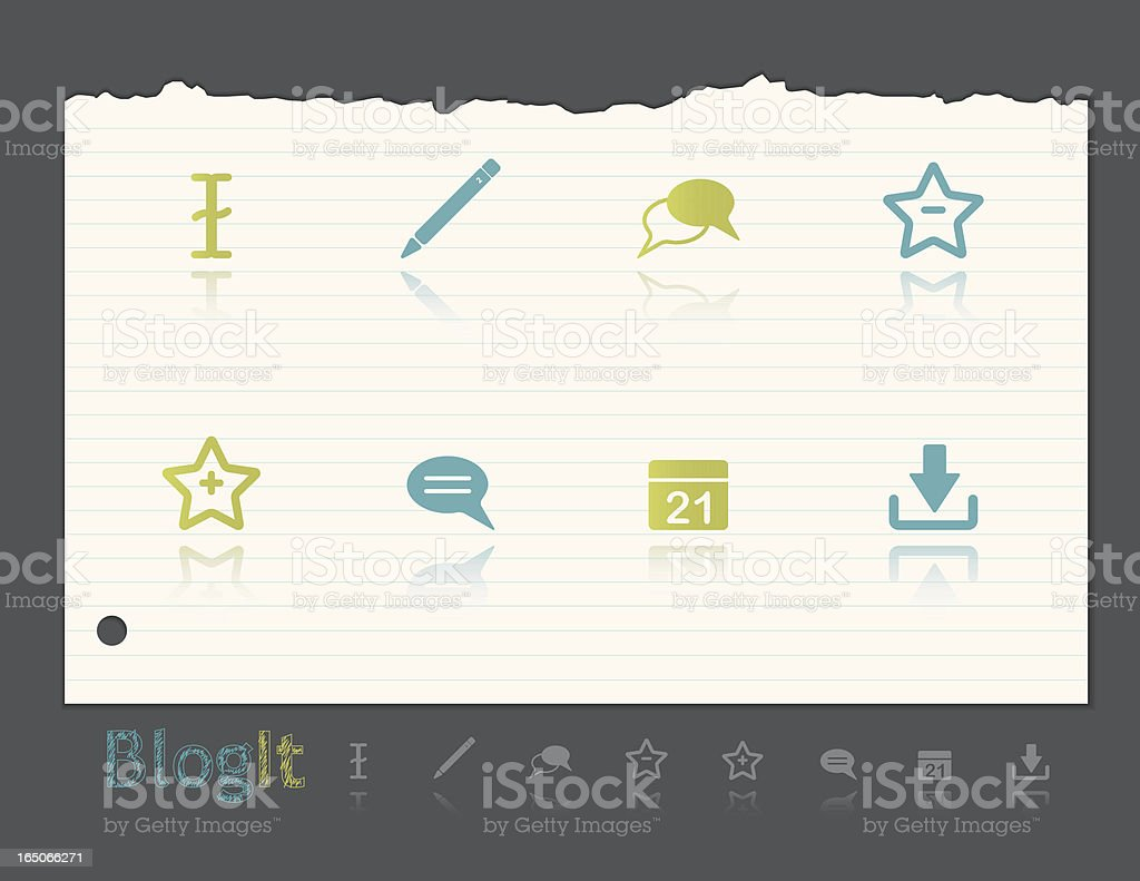 Blog It icons royalty-free stock vector art