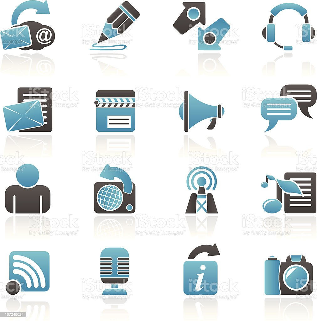 Blogging, communication and social network icons royalty-free stock vector art