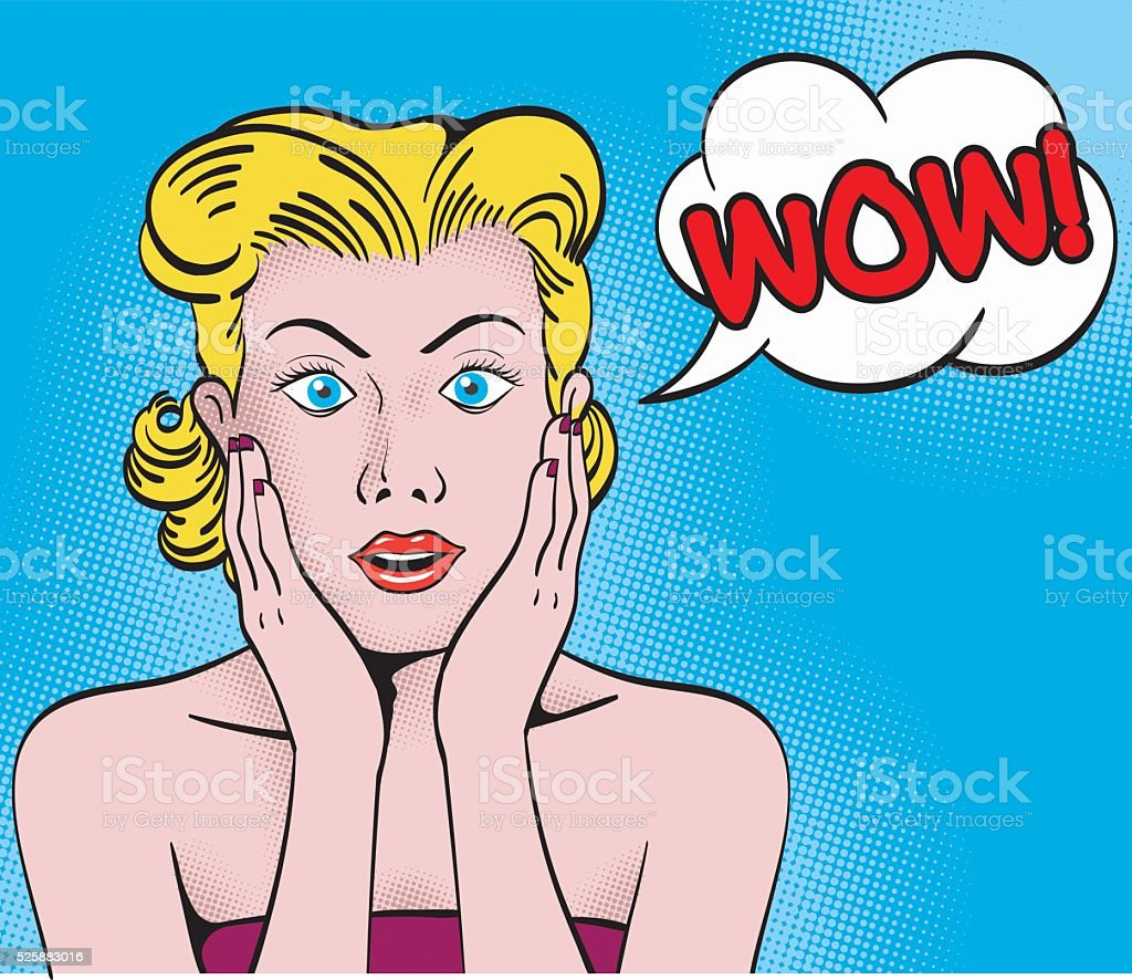 WOW blond comic girl expression vector art illustration