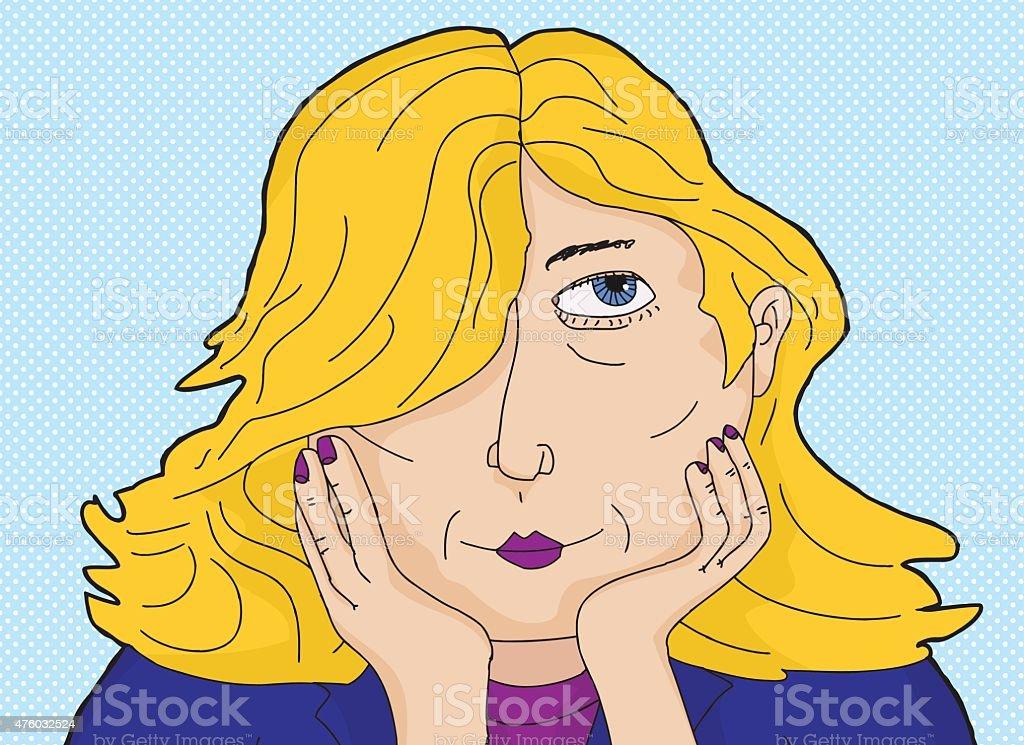 Blond Daydreaming Woman vector art illustration