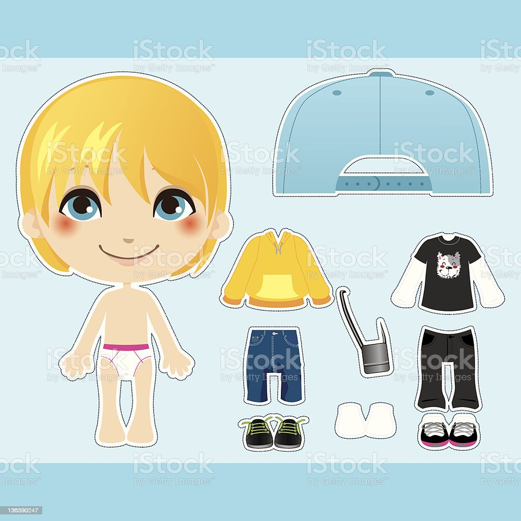 Blond Fashion Boy vector art illustration