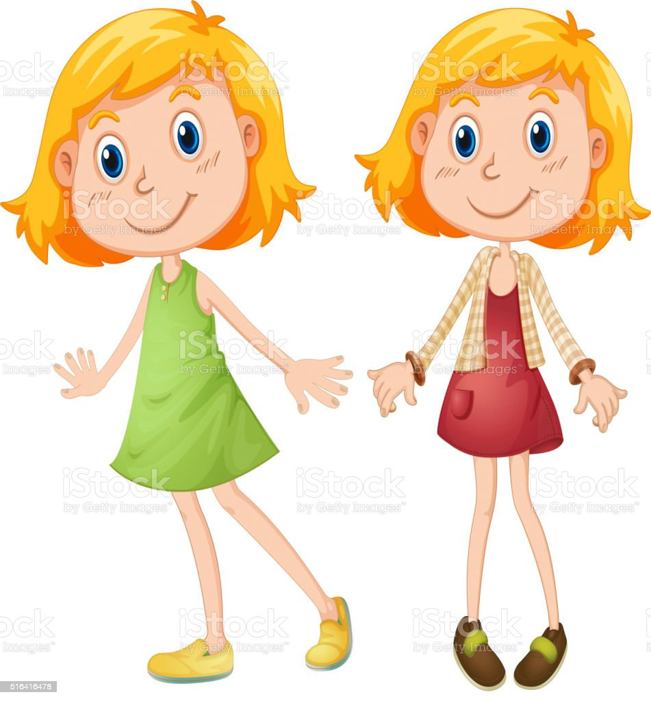 Blond girl in two costumes vector art illustration