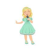 Blond Girl Singing In Karaoke