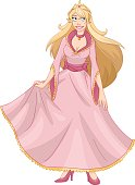 Blond Princess In Pink Yellow Dress