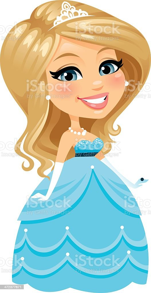 Blond Princess vector art illustration