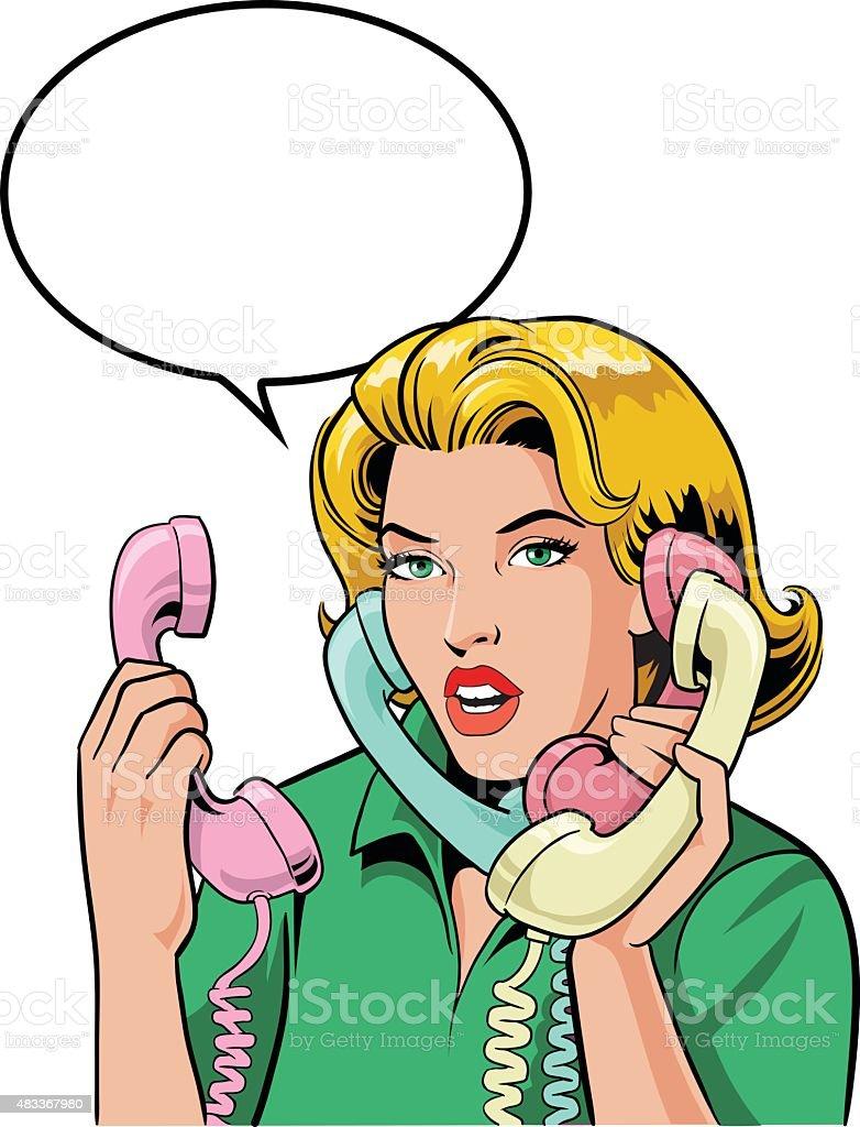 Blond Retro Style Woman Talking on Four Phones vector art illustration