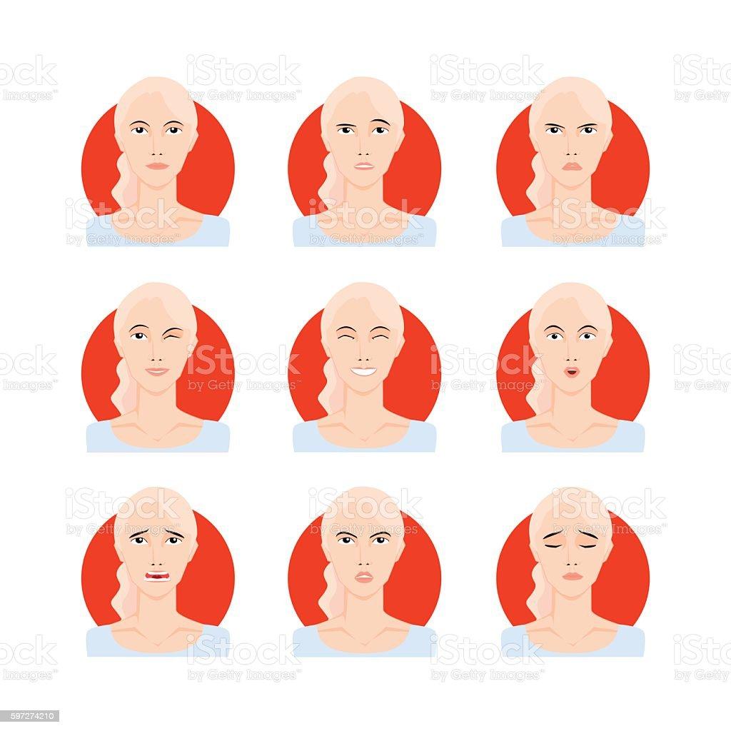 Blond woman set vector illustration vector art illustration