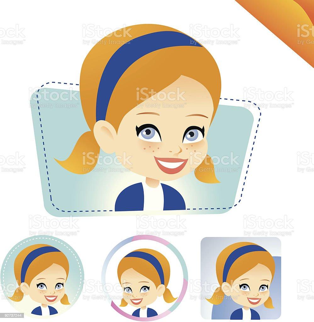 Blonde avatar girl  SET vector art illustration