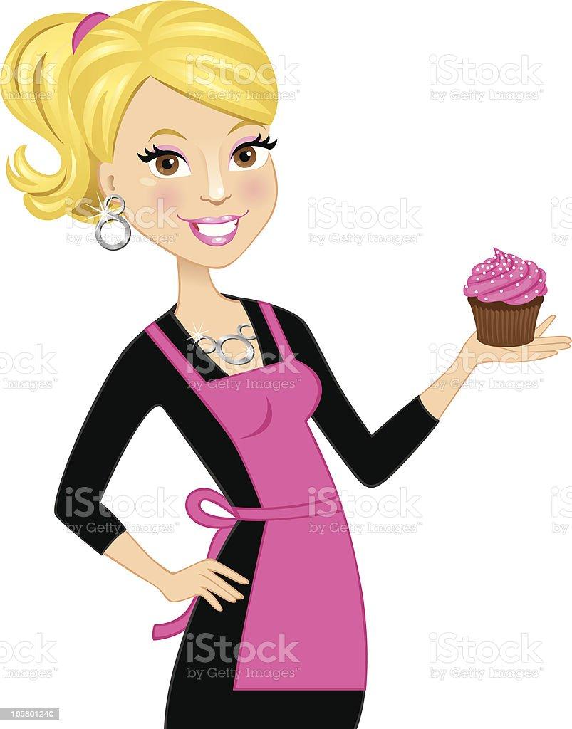 Blonde cupcake girl vector art illustration