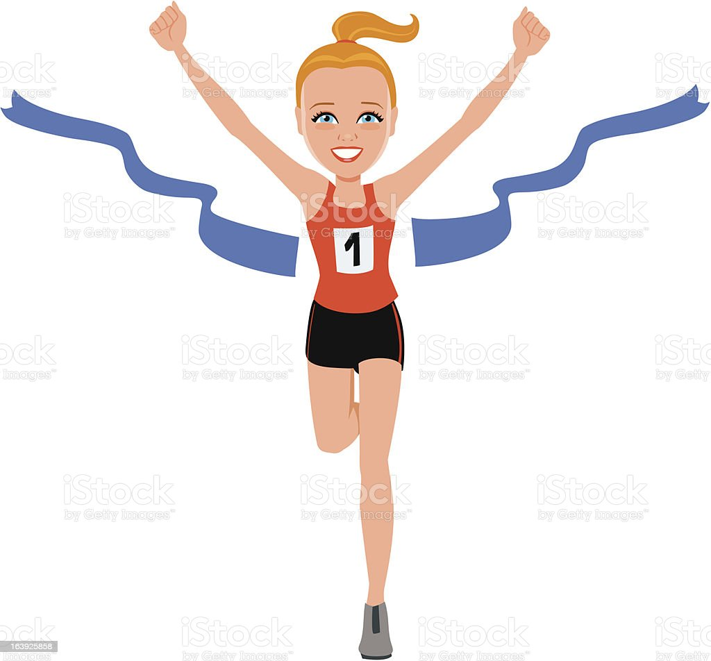 Blonde Girl Runner Athlete Winner Winning First Place royalty-free stock vector art