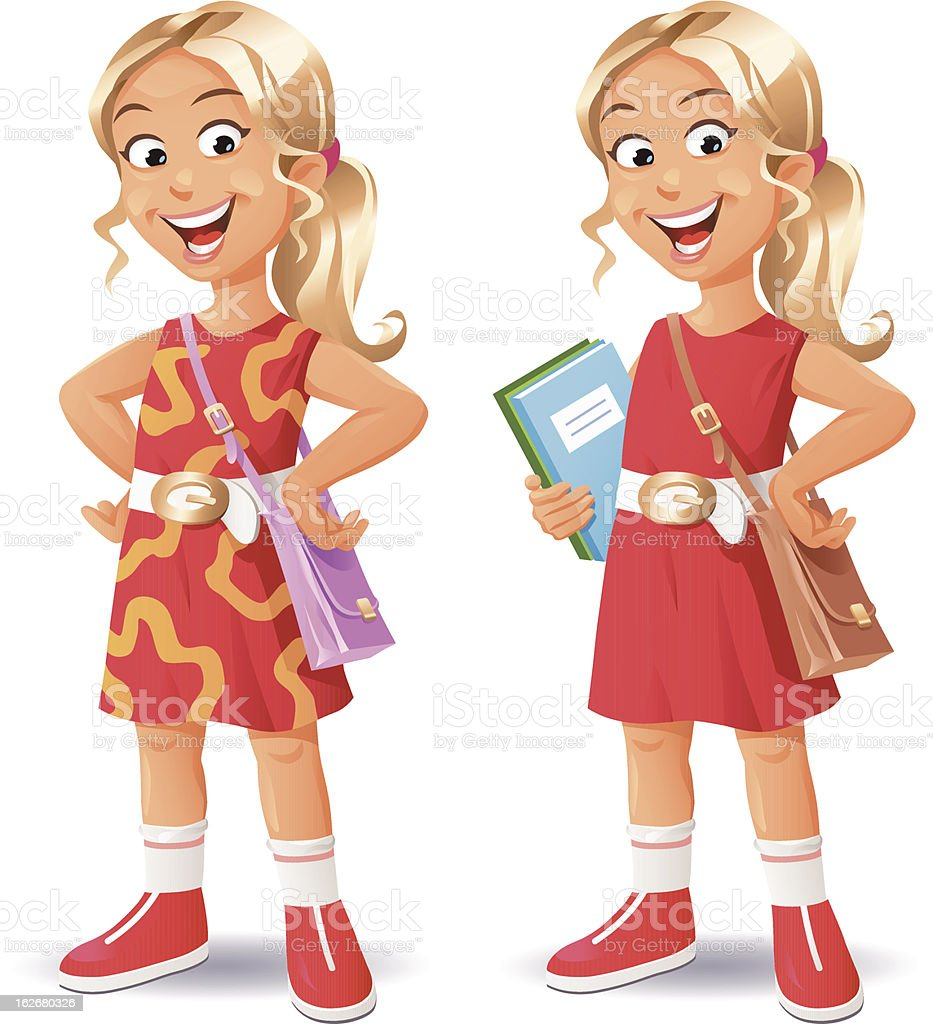 Blonde Girl vector art illustration