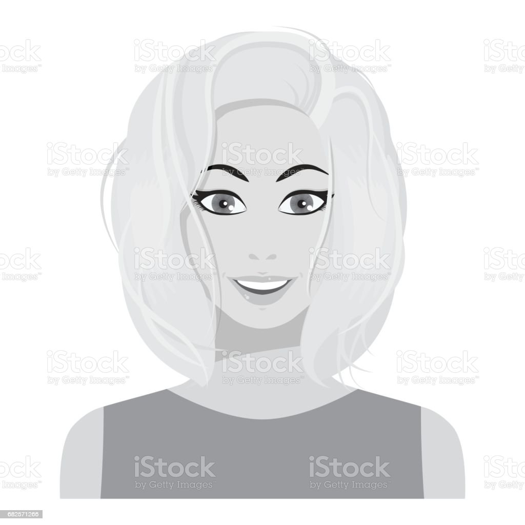 Blonde icon in monochrome style isolated on white background. Woman symbol stock vector illustration. vector art illustration