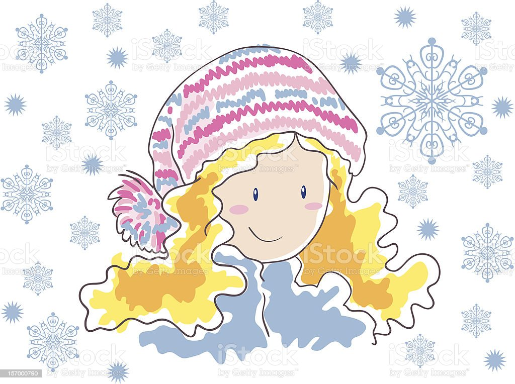 Blonde in a hat with pompom and snowflakes royalty-free stock vector art