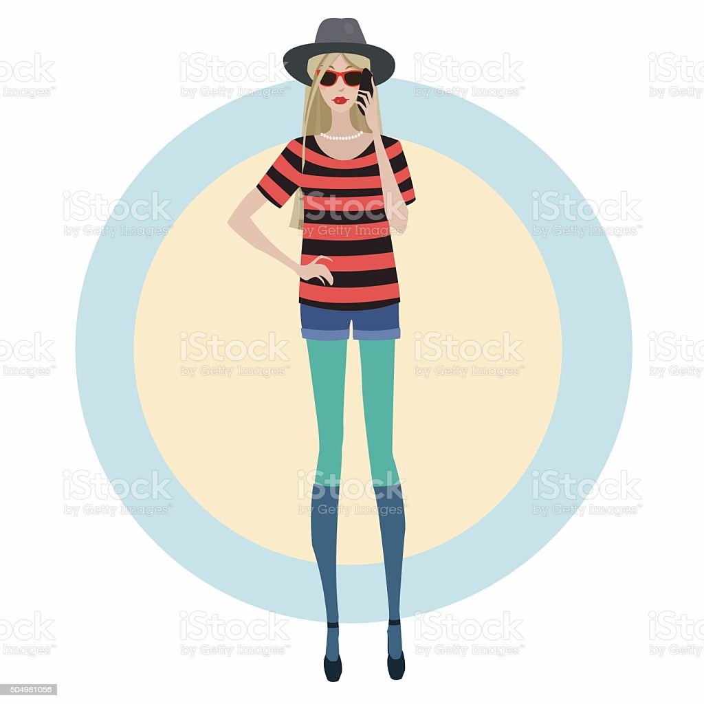 blonde with a mobile phone royalty-free stock vector art