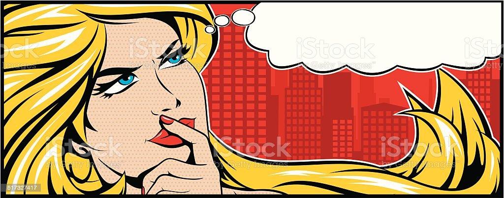 Blonde Woman Thinking vector art illustration