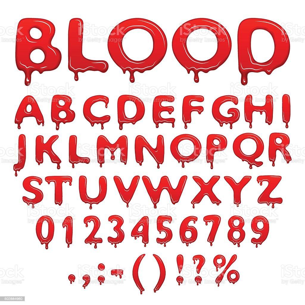 Blood alphabet numbers and symbols vector art illustration