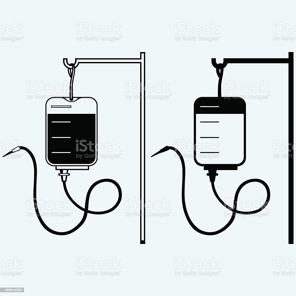 Blood bag silhouette vector art illustration