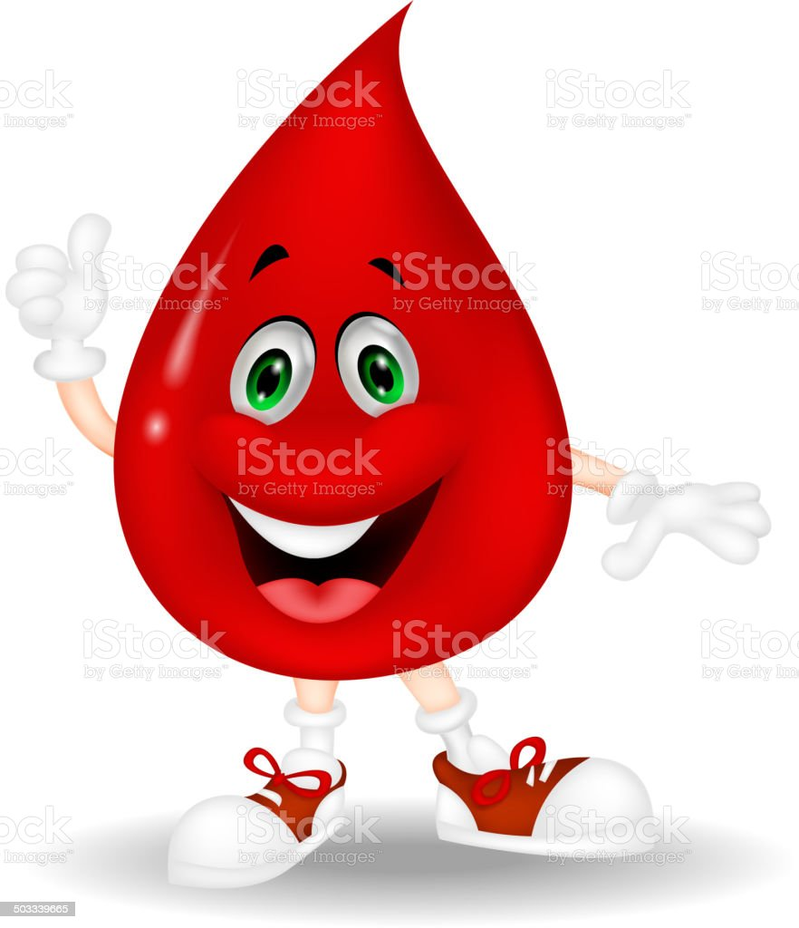 Blood cartoon giving a thumb up vector art illustration