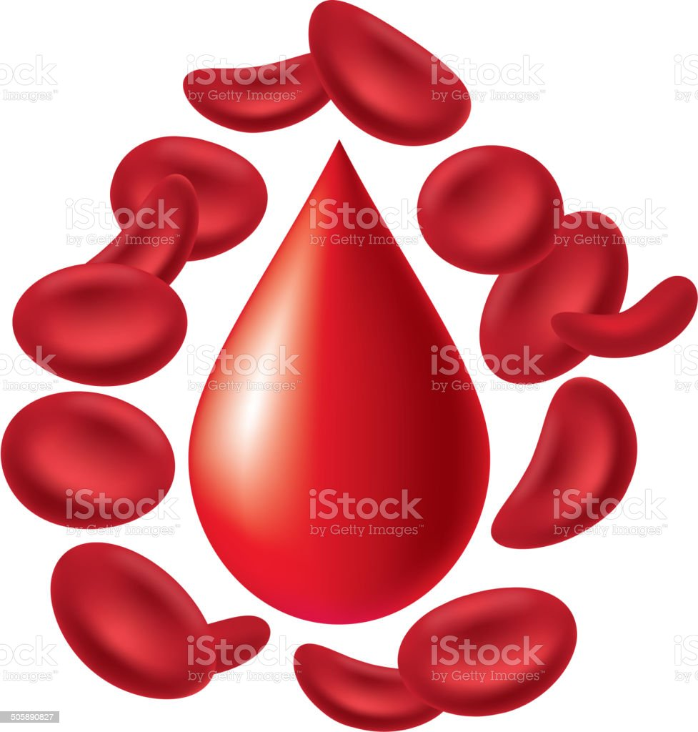 Blood cells and blood drop royalty-free stock vector art