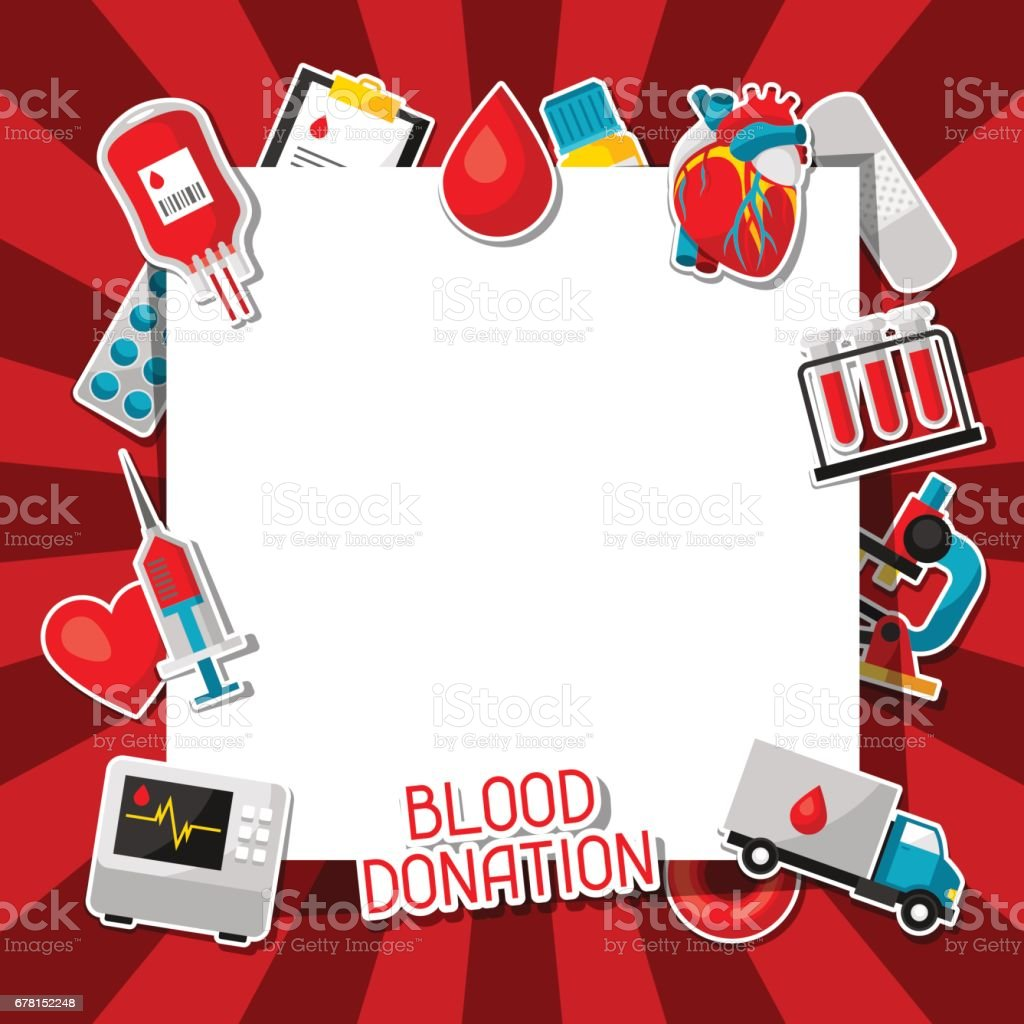 Blood donation. Background with blood donation items. Medical and health care sticker objects vector art illustration
