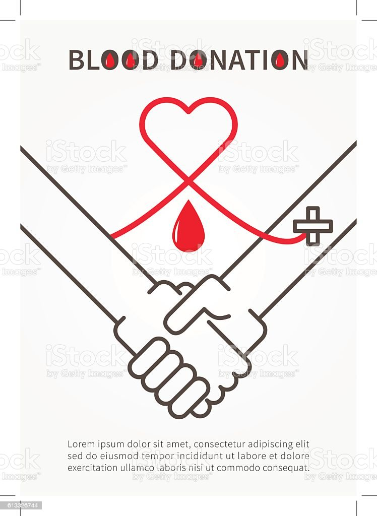 Blood Donation Handshake vector illustration with red heart vector art illustration