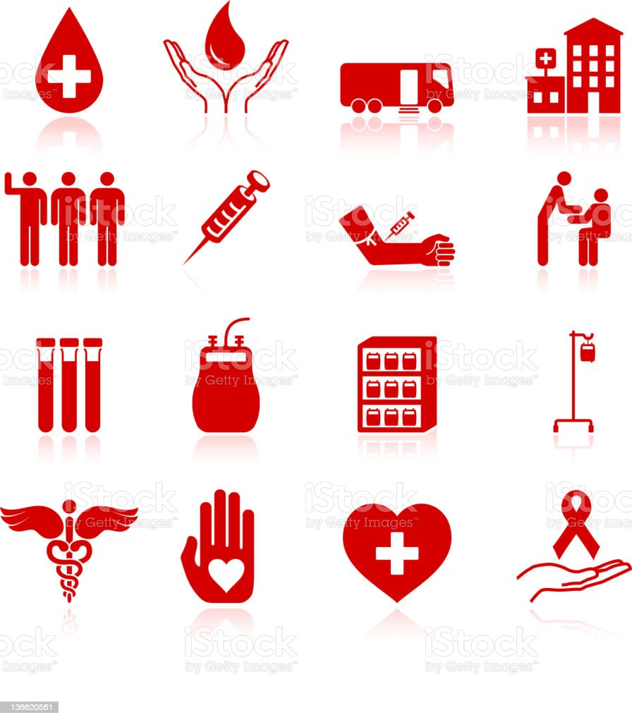blood donation icon set vector art illustration