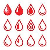 Blood Drop Emblem. Logo Template. Icon Set. Vector