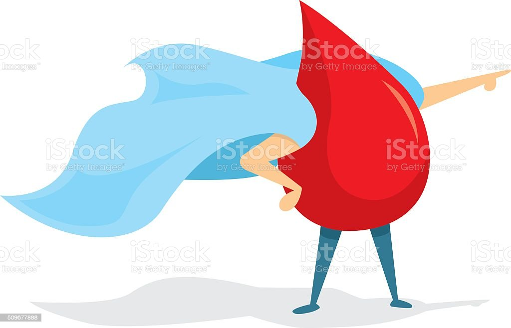 Blood drop super hero standing with cape vector art illustration