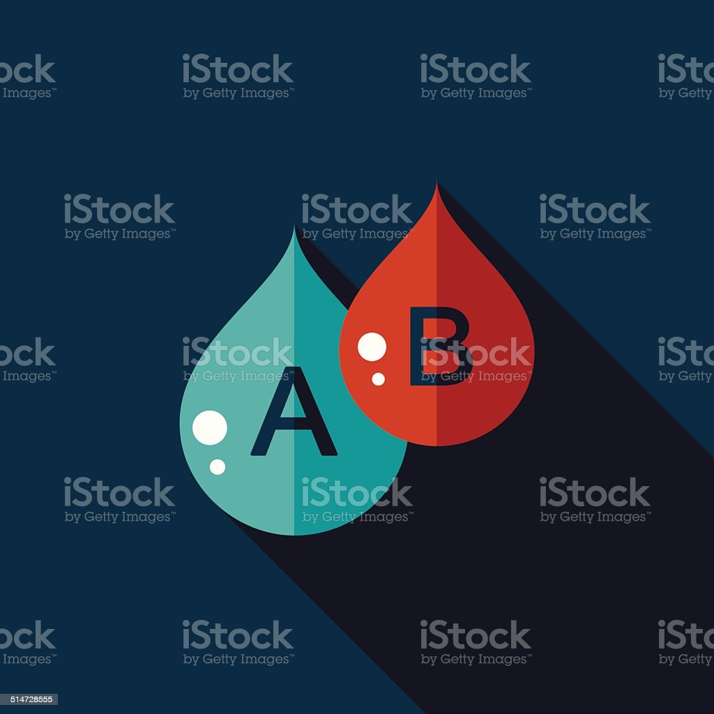 blood flat icon with long shadow vector art illustration