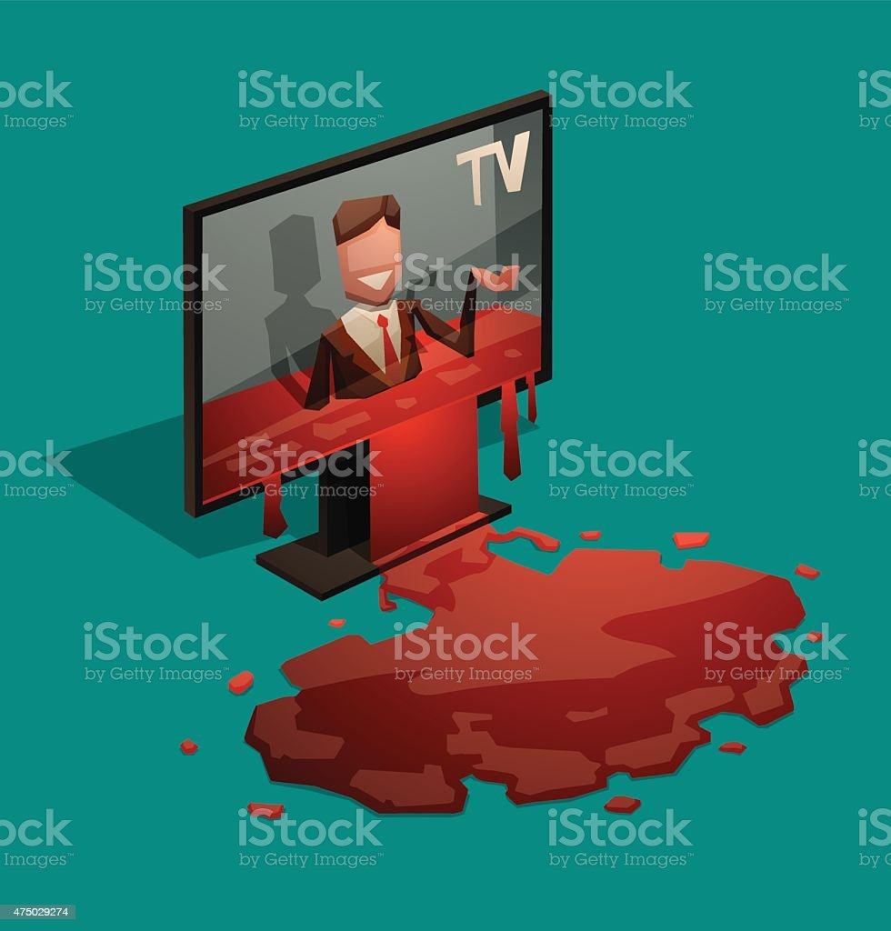 Blood from TV vector art illustration