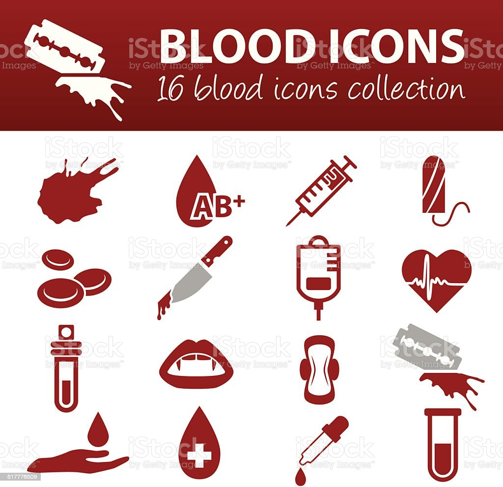 blood icons vector art illustration