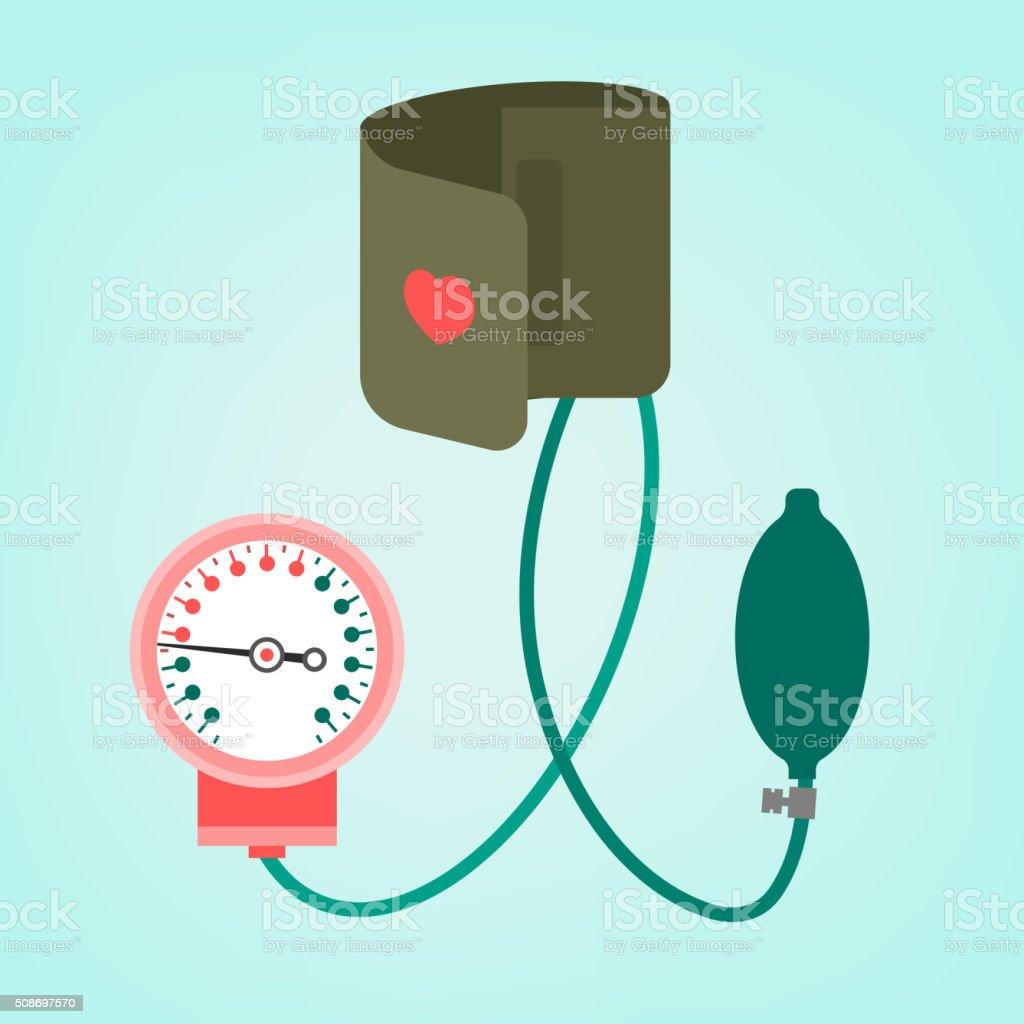 blood pressure measuring vector art illustration