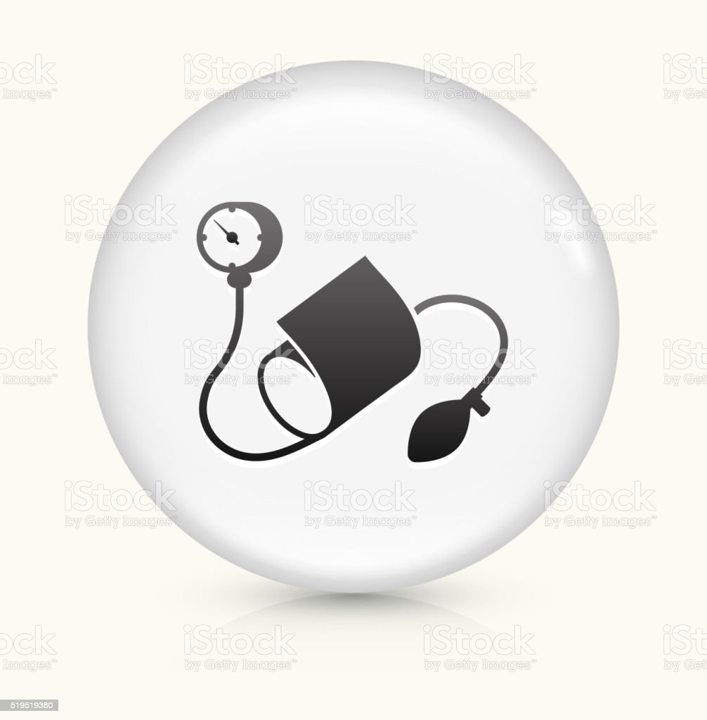 Blood Pressure Monitor icon on white round vector button vector art illustration