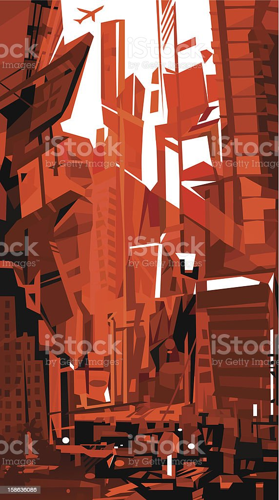 Blood Red City vector art illustration