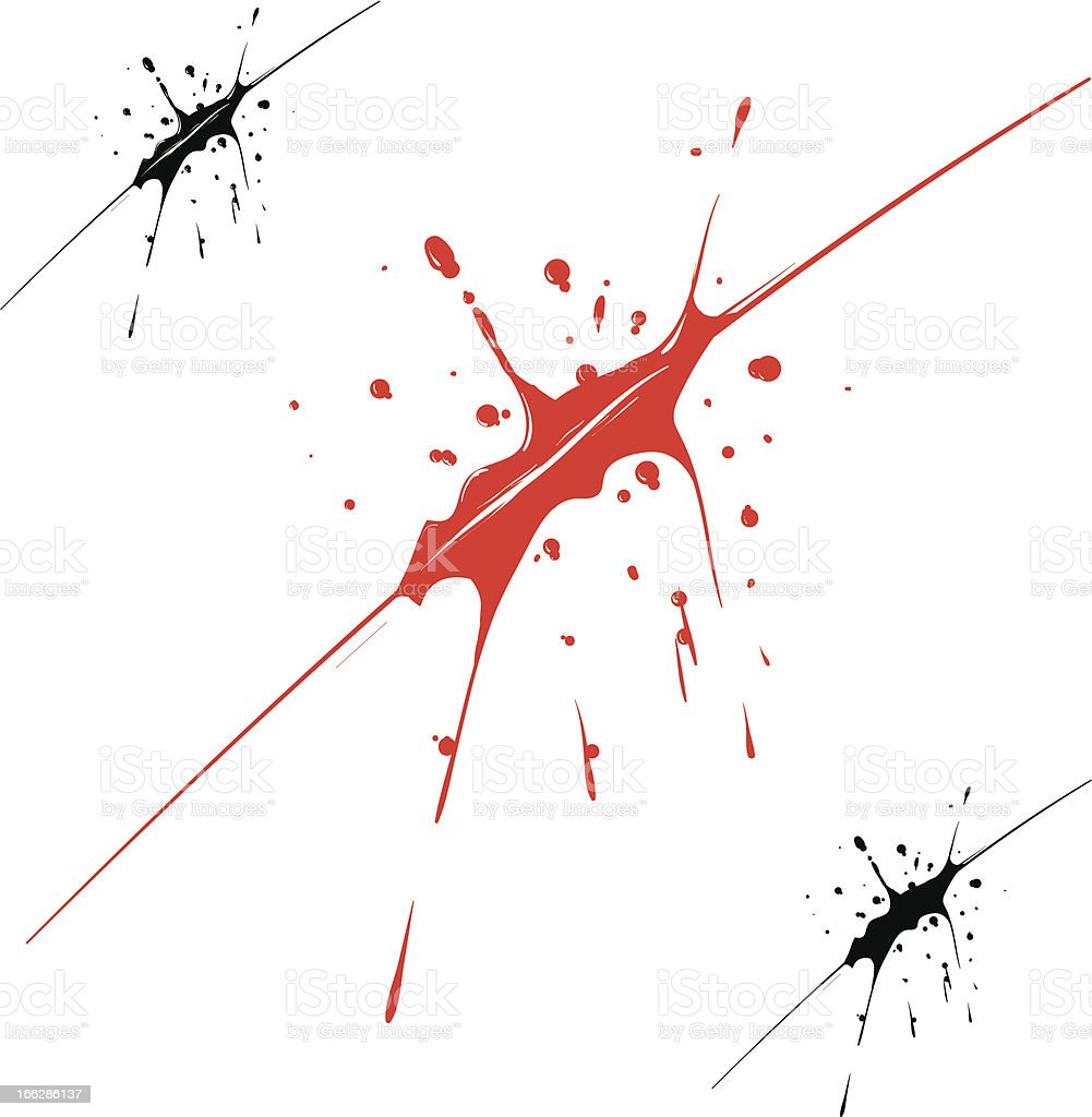 Blood splatter with black and red royalty-free stock vector art