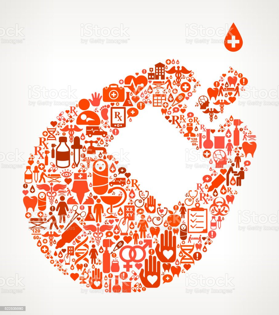 Blood Test Healthcare and Medicine Seamless Icon Pattern vector art illustration