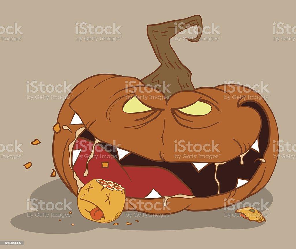 Bloodthirsty pumpkin royalty-free stock vector art