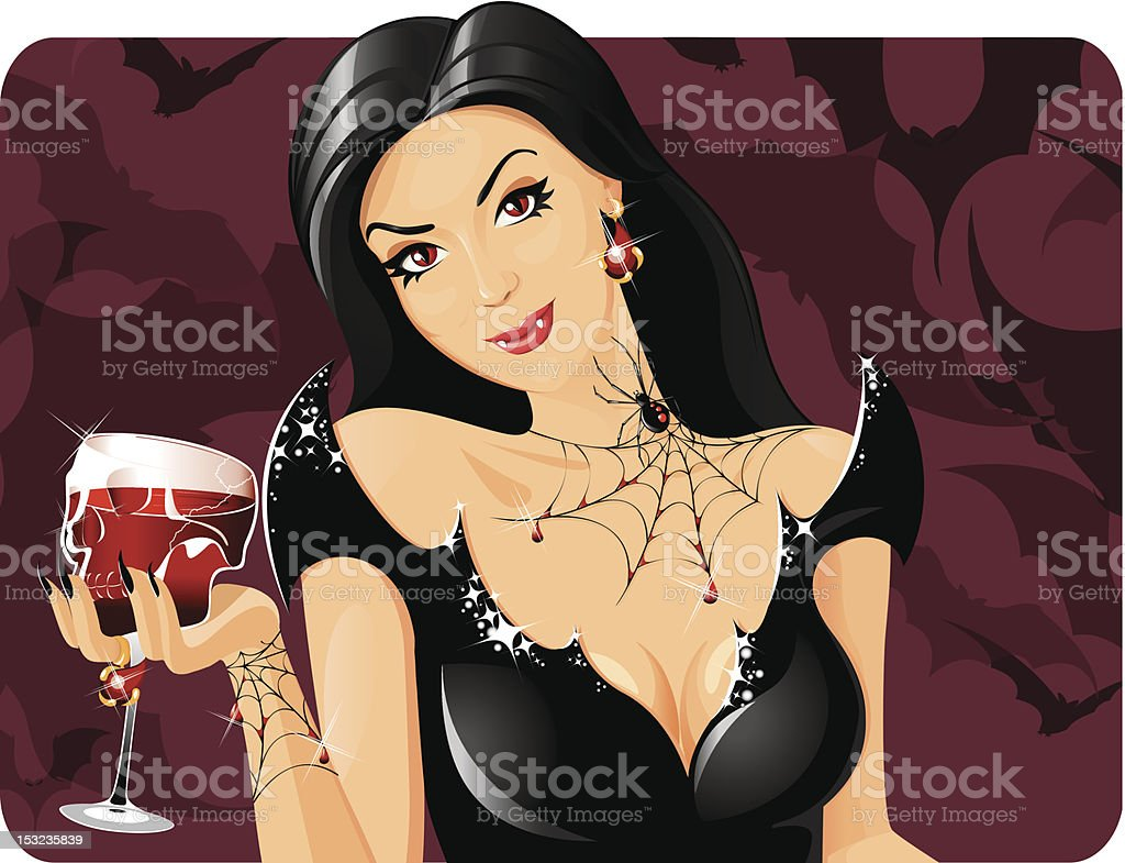 Bloodthirsty vamp vector art illustration