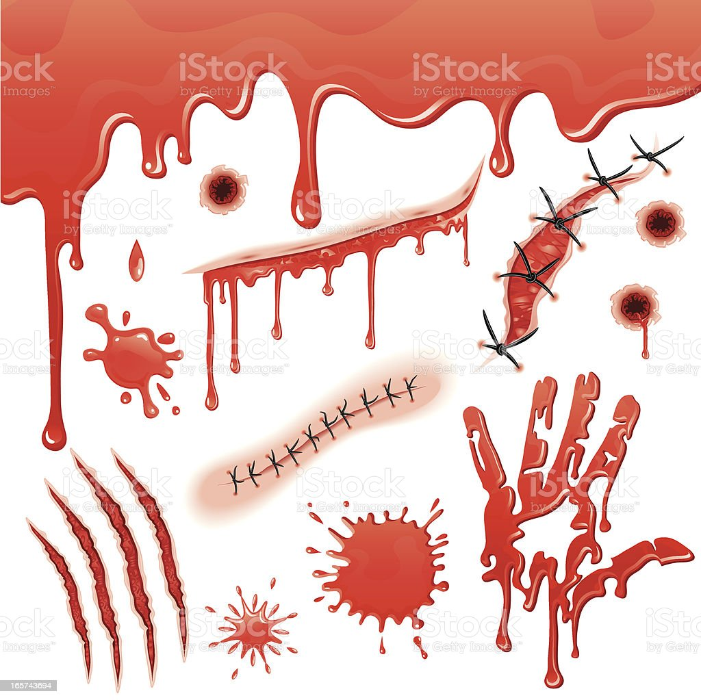 Bloody Gashes and Slashes Set royalty-free stock vector art