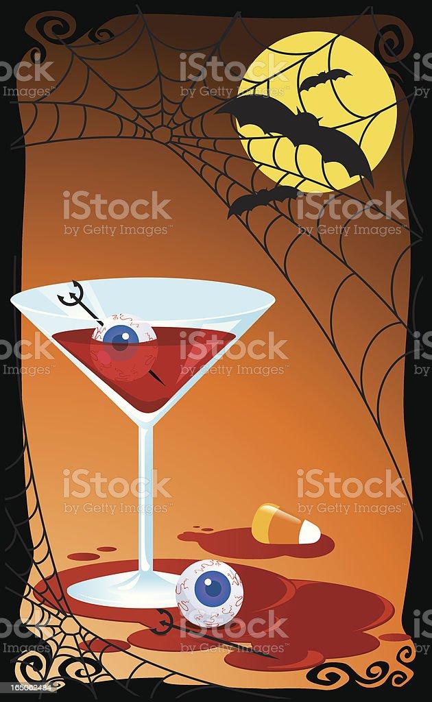 Bloody Halloween Cocktail vector art illustration