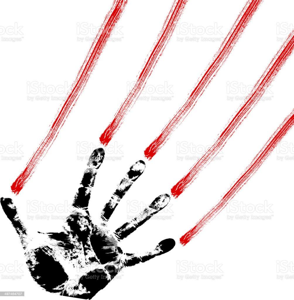 bloody hand prints vector art illustration