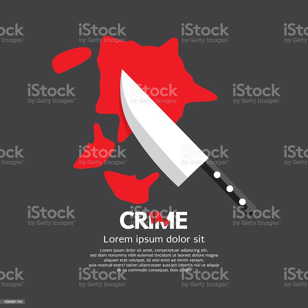 Bloody Knife Crime Concept. vector art illustration