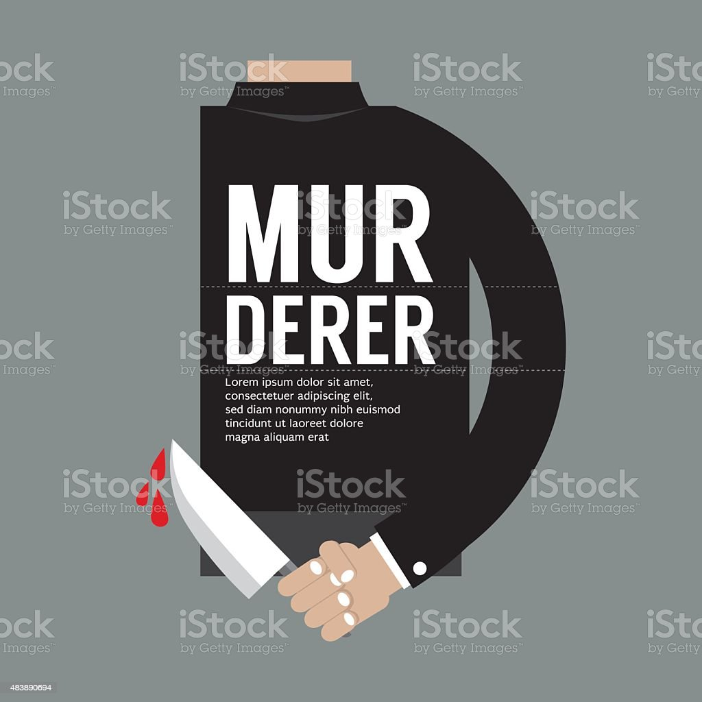Bloody Knife In Murderer's Hand vector art illustration