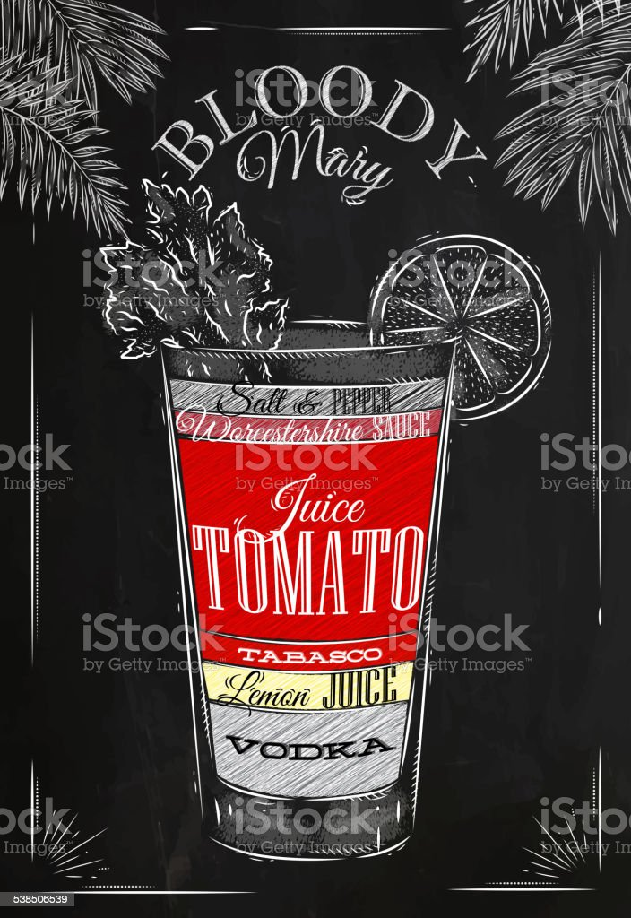 Bloody mary cocktail chalk vector art illustration