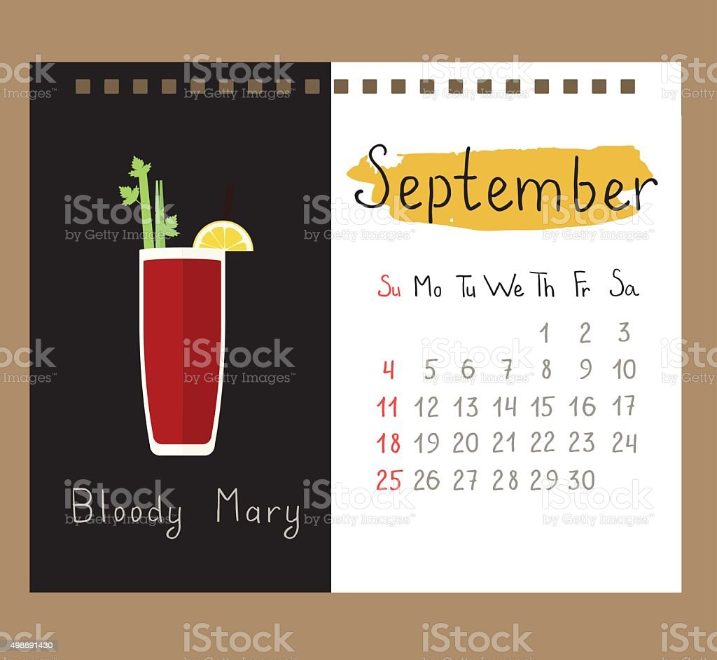 bloody mary for September vector art illustration