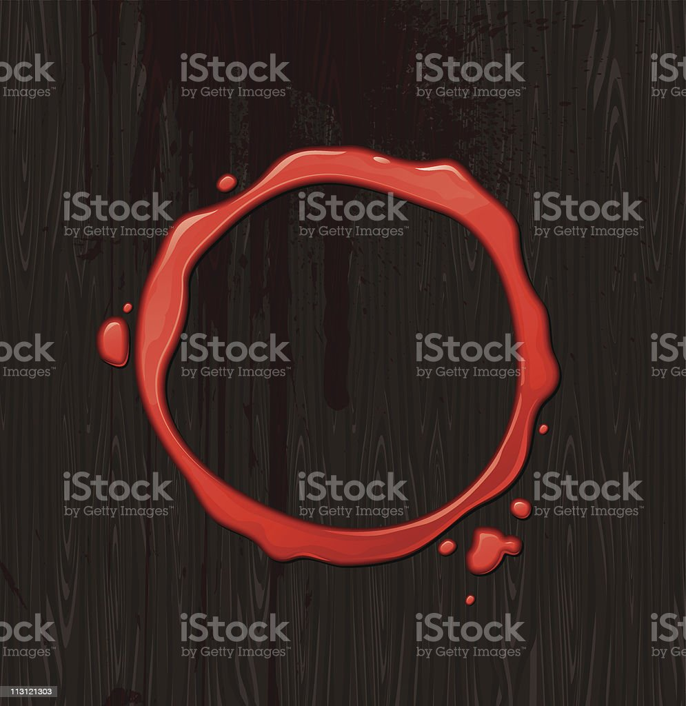 Bloody round frame on black wood texture background vector art illustration